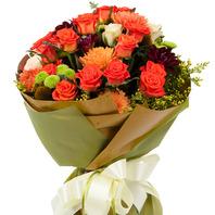 주황장미꽃다발